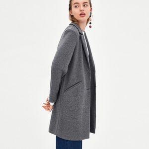 Zara Grey Structured Long Coat